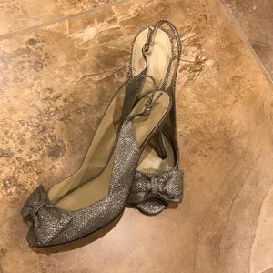 """Silver sparkle peep toe 2"""" heels"""